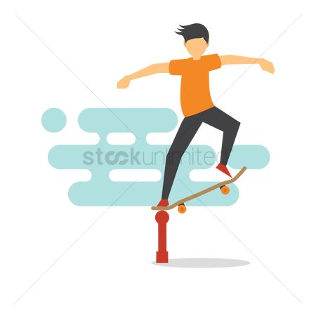 Rail : Boy performing tricks with his skateboard