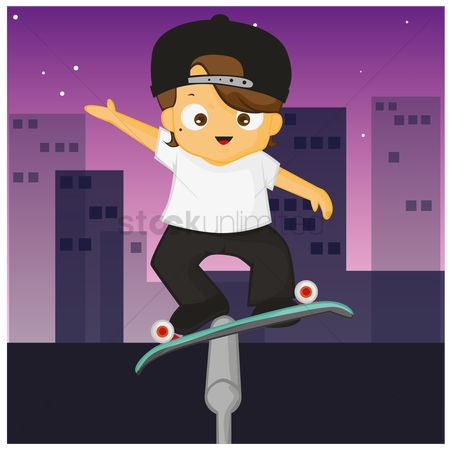 Skateboard : Boy riding on skates