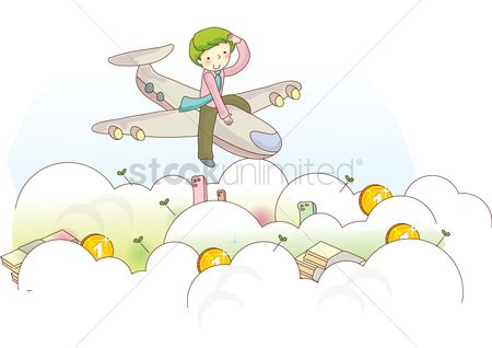 Aeroplanes : Boy sitting on aeroplane