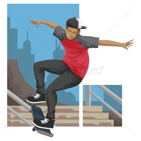 Skateboard : Boy skateboarding on railing