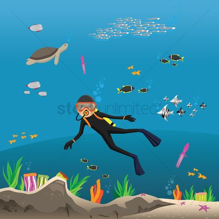 Starfishes : Boy snorkeling on the sea