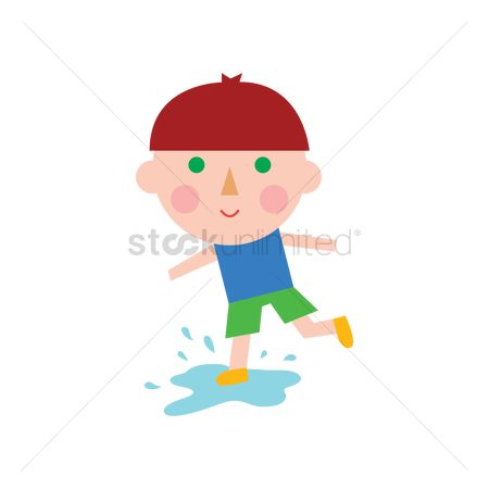 Dolls : Boy stepping on a puddle