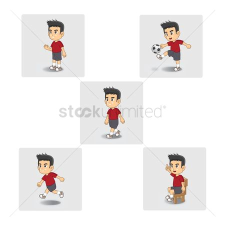 Soccer balls : Boy with different actions