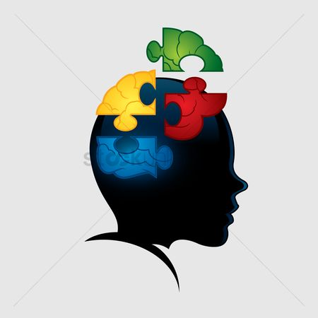 Jigsaw : Brain as a jigsaw puzzle in a head