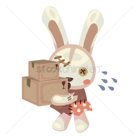 Hare : Bunny carrying heavy boxes
