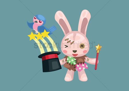 Hare : Bunny with magician hat and stick