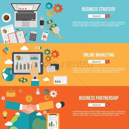 Magnifying : Business infographic banners