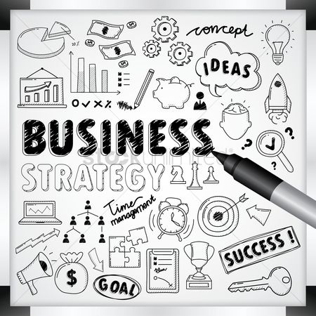 Whiteboard : Business strategy concept