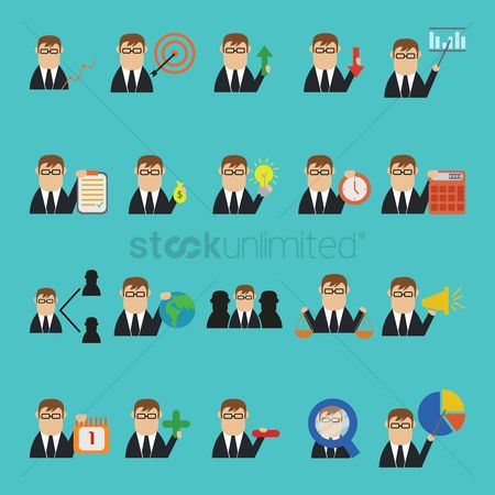 Leadership : Business strategy icon set