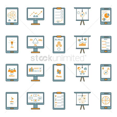 Electronic : Business strategy icon set