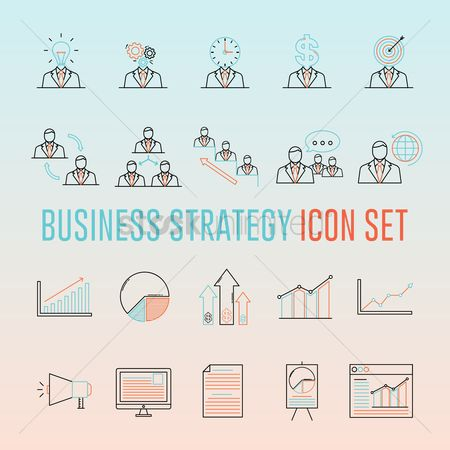 Guys : Business strategy icon set