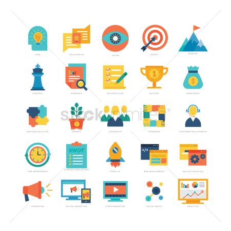 Researching : Business strategy icons