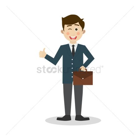 Business deal : Businessman carrying a briefcase with a thumbs up sign