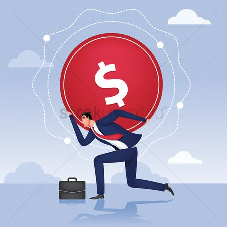 Currencies : Businessman carrying dollar on his back