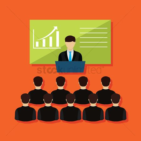 Businesspeople : Businessman giving presentation