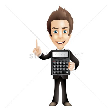 Businesspeople : Businessman holding calculator