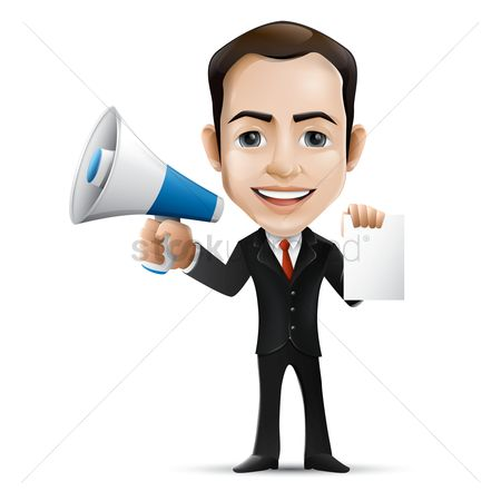 Managers : Businessman holding megaphone