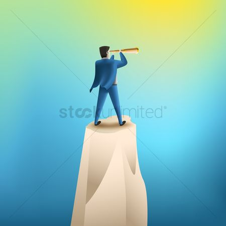 Achievements : Businessman looking through a telescope