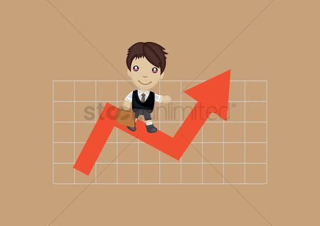 Increase : Businessman standing on chart