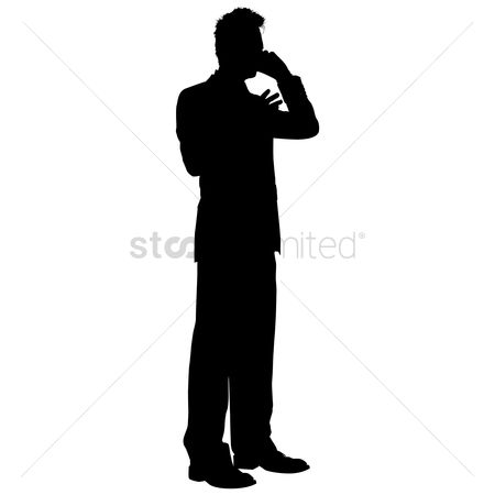 Talking : Businessman talking on a phone silhouette