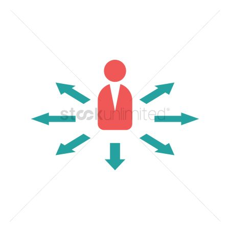 Interact : Businessman with arrows pointing out