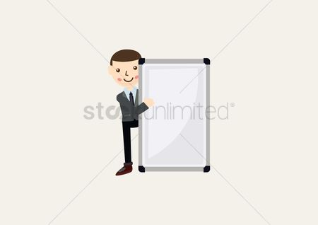 Whiteboard : Businessman with blank whiteboard