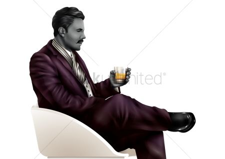 Businesspeople : Businessman with drink on couch