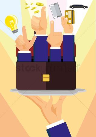 Servings : Businessmen raising hands