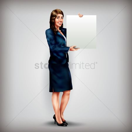Oil : Businesswoman holding placard