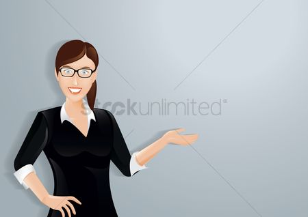 Posing : Businesswoman with a welcoming gesture