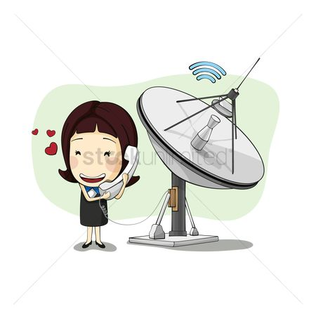 Dishes : Businesswoman with mobile radar dish