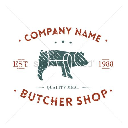 Shops : Butcher shop label