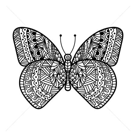 Hand drawn : Butterfly monochrome design