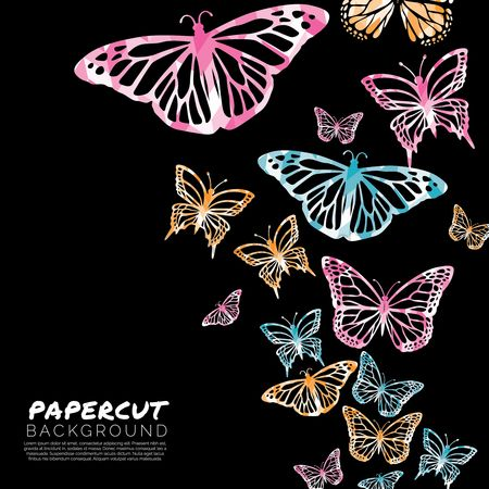 Double exposure : Butterfly papercut background design
