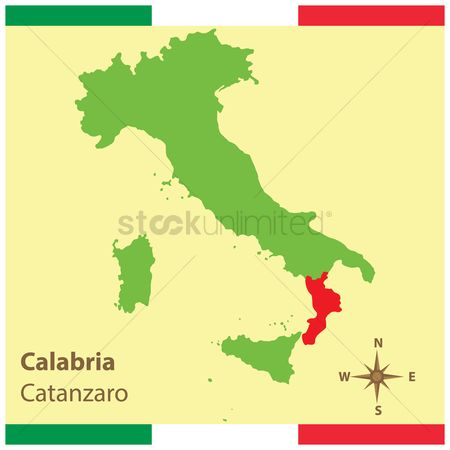 Highlights : Calabria on italy map