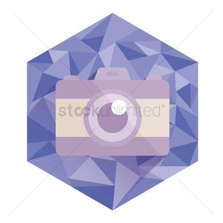 Technology : Camera on abstract hexagon