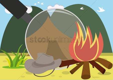 Tents : Camp fire with a magnifying glass