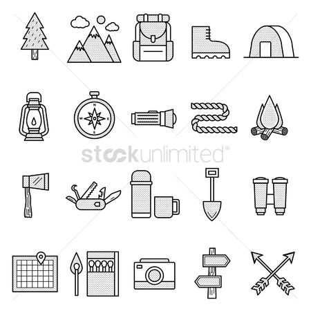 Map pointer : Camping icon set
