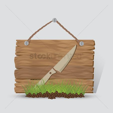 Wooden sign : Camping knife sign
