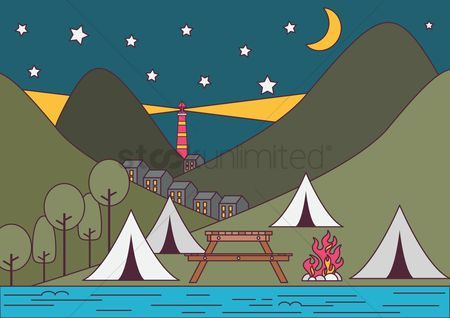 Moon : Camping tents near the mountain and river