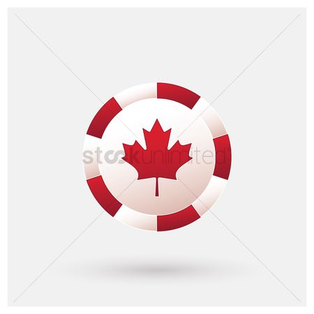 Poker chips : Canada flag icon