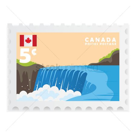Waterfalls : Canada postage stamp design