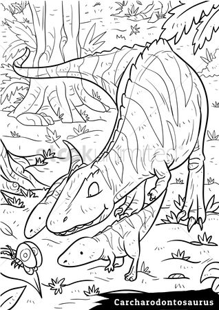 Colorings : Carcharodontosaurus with hatchlings