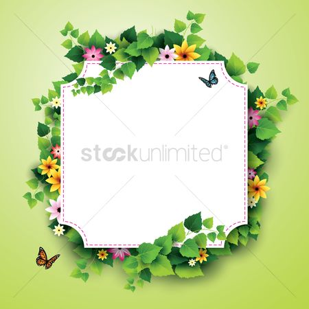 Spring : Card with leaves and flowers