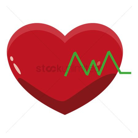 Cardiogram : Cardiogram on red heart