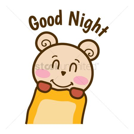 Teddybears : Cartoon bear wishing goodnight