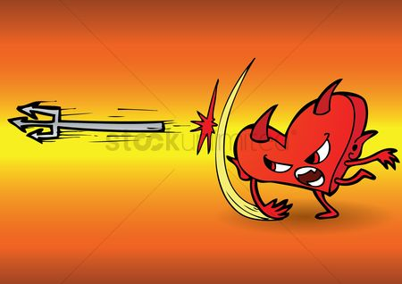 Annoy : Cartoon devil throwing a pitch fork