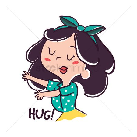 Romance : Cartoon girl gesturing for hug