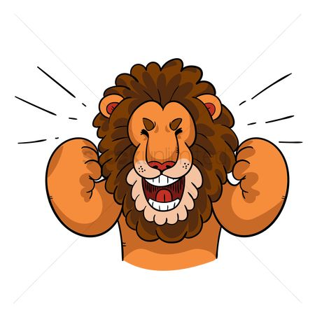 Cheering : Cartoon lion celebrating