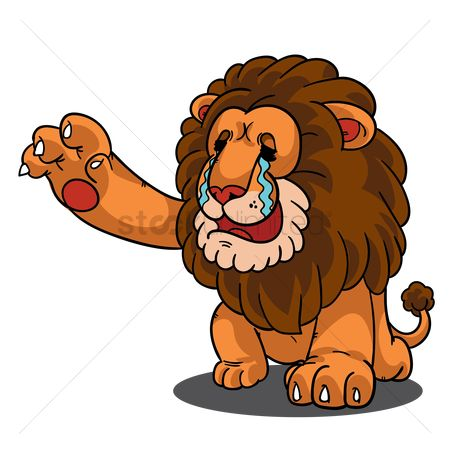 Calling : Cartoon lion crying and reaching hands out